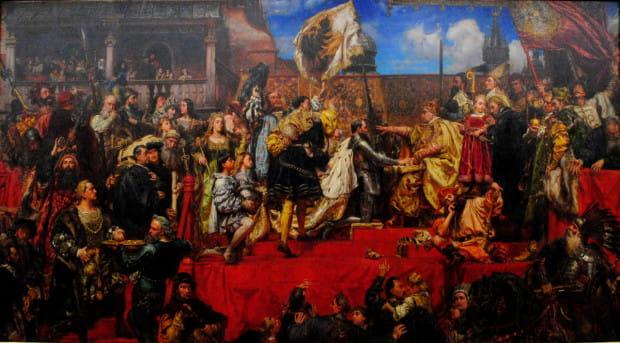 Hołd lenny z Prus Książęcych złożony przez Albrechta Hohenzollerna królowi Polski Zygmuntowi Staremu w 1525 r. zahamował ekspansję luternizmu w Gdańsku. Obraz Jana Matejki.