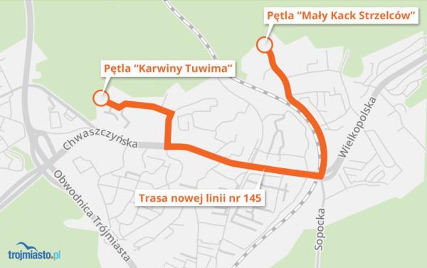 Tędy będzie jeździł autobus pomiędzy Małym Kackiem a Karwinami.