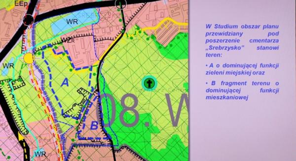 Ustalenia studium dla terenów cmentarza Srebrzysko II - obszar A i B.