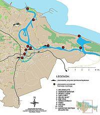 Lokalizacja planowanych przystanków tramwaju wodnego.