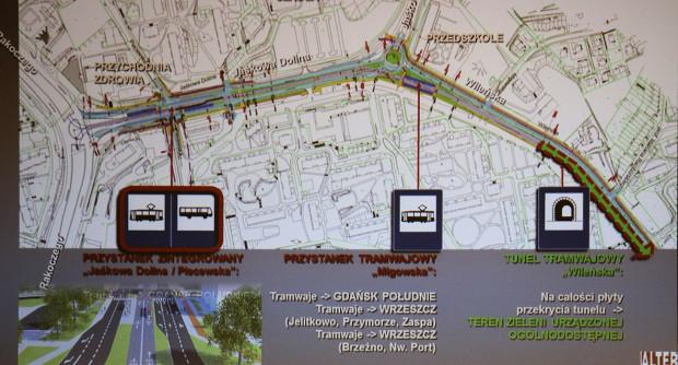 Lokalizacja przystanków tramwajowych na odcinku Rakoczego - tunel tramwajowy.