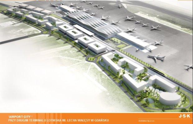 Koncepcja zabudowy Airport City, czyli biznesowej dzielnicy przy lotnisku zaprezentowana w 2013 roku.