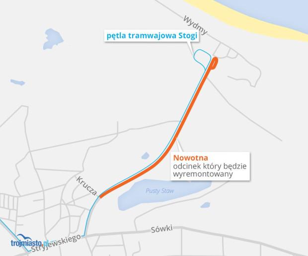 Planowany odcinek ul. Nowotnej do remontu.