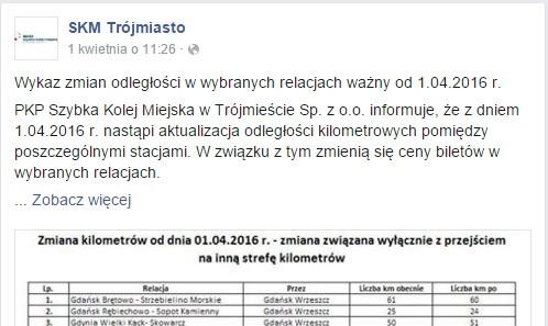Informacje o zmianach SKM umieściła 1 kwietnia na swoim profilu na Facebooku.