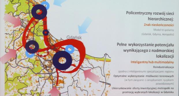 Model rozwoju Gdańska i aglomeracji oparty jest na kilku dzielnicach wraz z wejściem na górny taras.