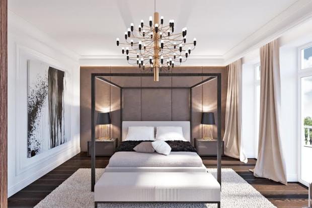 Nowoczesność w sypialni szukająca nawiązań do stylów historycznych. Projekt Luk Studio.