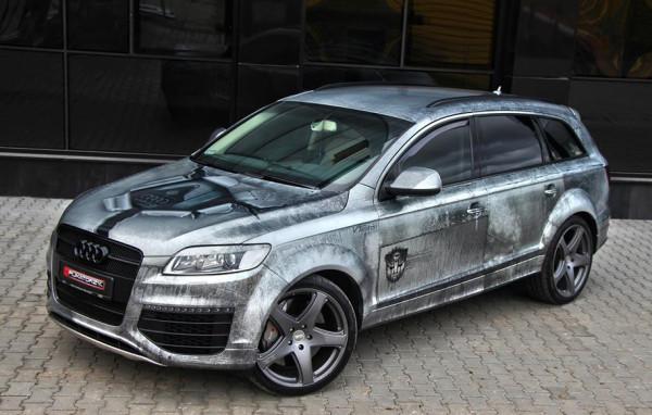"""""""Od strony technicznej jest to chyba pierwsza tego typu realizacja w Polsce. Jako bazę pod ten projekt posłużyła nam folia dedykowana do zmiany koloru o nazwie Aluminium Matte"""" - o Audi Q7 """"Transformers"""" mówi Szaflicki."""