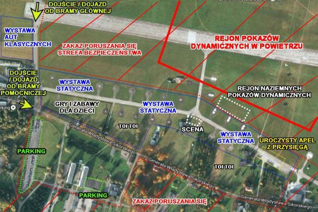 Lokalizacja atrakcji i zamkniętych stref na lotnisku w Pruszczu Gdańskim.