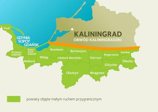 Na zielono zaznaczono powiaty, które zostały objęty małym ruchem granicznym.