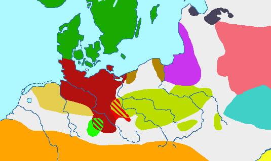 Kultury archeologiczne okresu przedrzymskiegoepoki żelaza(600 lat p.n.e - I w. p.n.e.) Zasięg kultury oksywskiej zaznaczono kolorem brązowym.