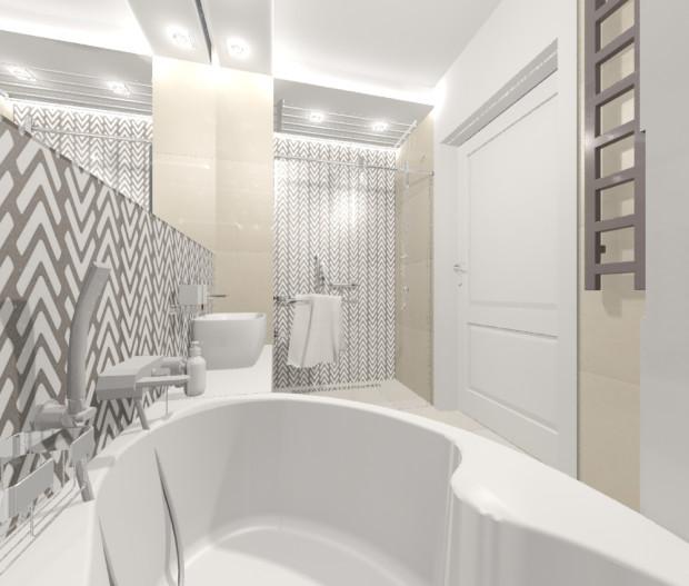 Pomimo ograniczonej przestrzeni we wnętrzu znalazło się miejsce na wannę i prysznic.