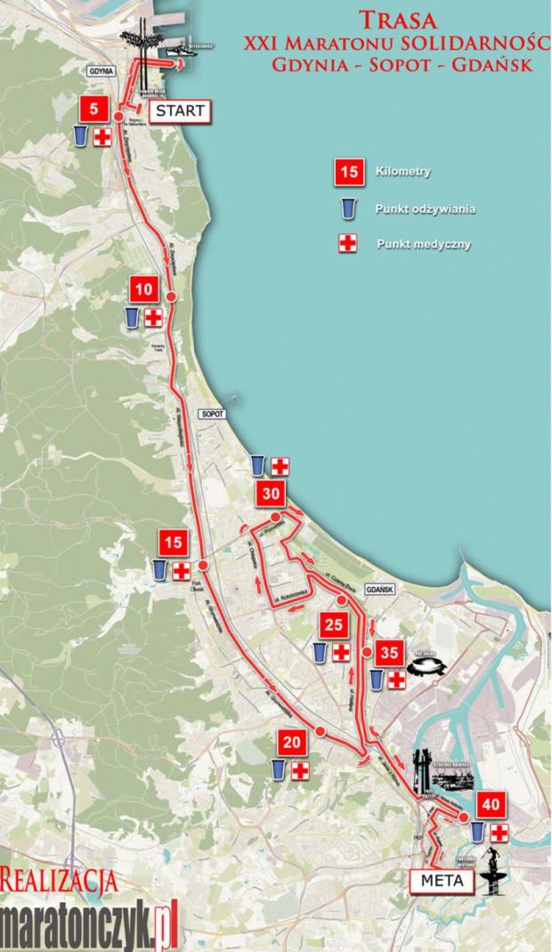 Trasa XXII Maratonu Solidarności.