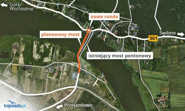 Nowy most będzie położony tuż obok istniejącego pontonowego.
