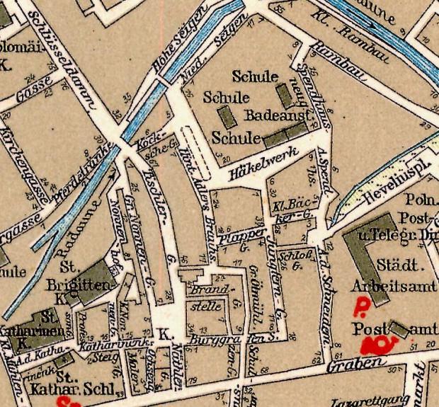 Hinter Adlers Brauhaus (pośrodku mapy), dziś ul. Browarna, była ulicą, na której najłatwiej było znaleźć prostytutki w międzywojennym Gdańsku.