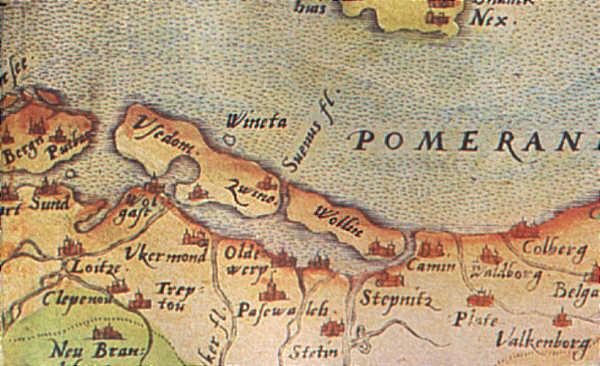 Jedna z możliwych lokalizacji Winety u brzegów wyspy Uznam. Mapa z początków XVI w.