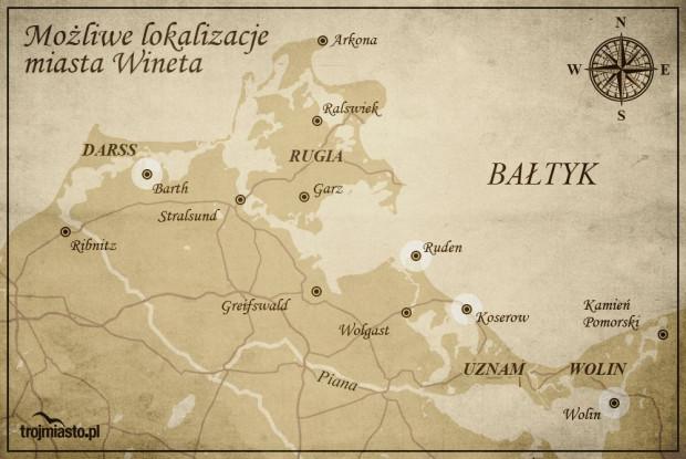 Wskazywane przez badaczy możliwe lokalizacje średniowiecznego miasta Wineta.
