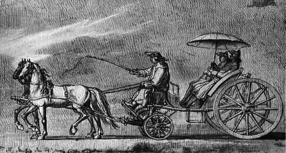 Taradajka (niem. der Taradei) na rycinie Daniela Chodowieckiego, będącej ilustracją jego dziennika z podróży z Berlina do Gdańska (1773 r).