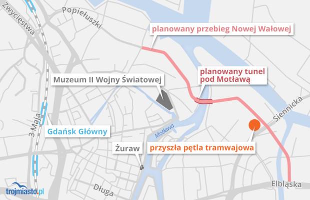 Nowa pętla tramwajowa ma powstać w ramach przedłużenia Nowej Wałowej i budowy tunelu pod Motławą.