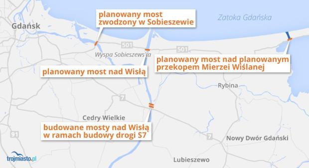 Planowane inwestycje mostowe w związku z przekopem Mierzei Wiślanej.
