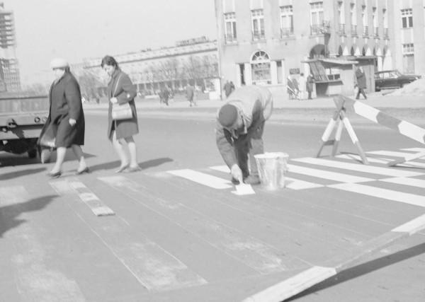 Malowanie przejścia dla pieszych na Podwalu Grodzkim w rejonie dawnej przychodni.