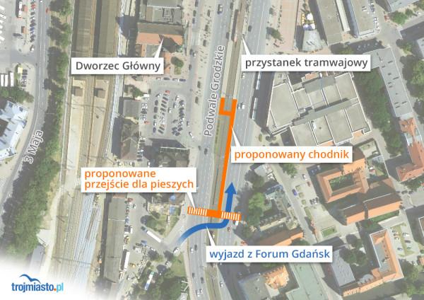 Proponowane przejście przy ul. Podwale Grodzkie.