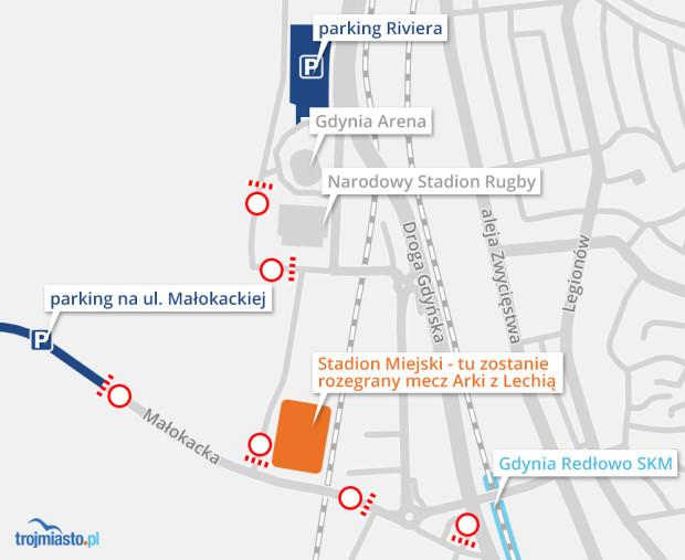 Organizacja ruchu i miejsca do parkowania przy okazji meczu Arki z Lechią.