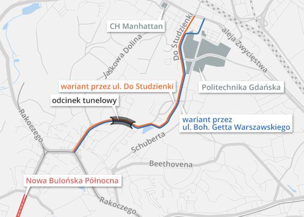 W tzw. decyzji środowiskowej pod uwagę brane są tylko dwa warianty, które różnią się przebiegiem w pobliżu al. Grunwaldzkiej.