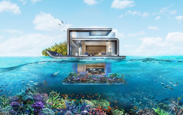 """Projekt o nazwie """"The Floating Seahorse"""" (""""Dryfujący konik morski"""") zakłada zbudowanie kilkudziesięciu ekskluzywnych domów na wodzie. Mają powstać w archipelagu """"The World"""", odwzorowującym mapę globu, w obszarze nazywanym """"The Heart of Europe"""" (""""Serce Europy""""). Zakup jednej willi to wydatek rzędu 12 mln dolarów."""