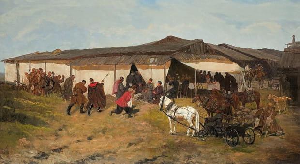 """Obraz Józefa Chełmońskiego pt. """"Jarmark na kresach"""" powstał w roku 1882, podczas pobytu malarza w Paryżu. Teraz płótno zostało sprzedane za 980 tys. zł."""