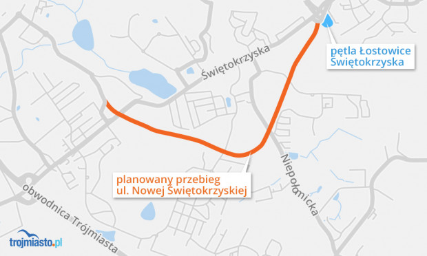 Planowany przebieg ul. Nowej Świętokrzyskiej wraz z powiązaniem do ul. Guderskiego.