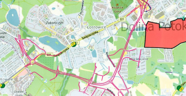 Mapa umieszczona w dokumentacji do wydania tzw. decyzji środowiskowej.