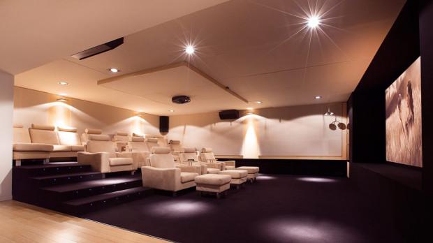 Pierwsze kina domowe powstawały w Stanach Zjednoczonych, w prywatnych, luksusowych rezydencjach. Obecnie istnieją także w wersji 3D, a od wielkich, miejskich multipleksów różni je w zasadzie tylko mniejsza kubatura.