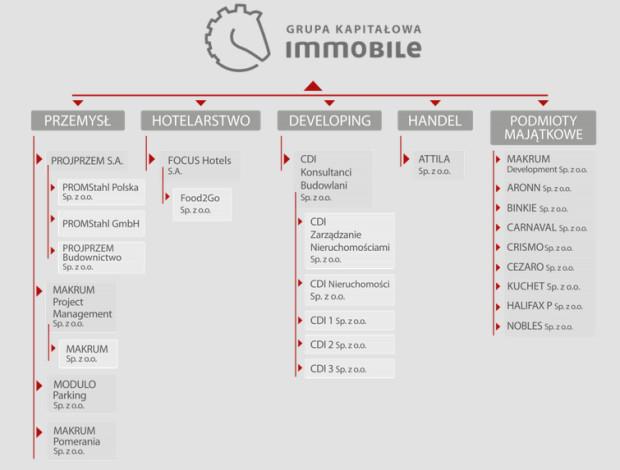 W portfelu Grupy Kapitałowej Immobile znajdują się spółki działające w przemyśle, hotelarstwie, nieruchomościach, branży budowlanej oraz handlu.
