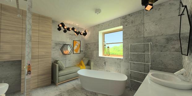 Koncepcja druga. Obok wolno stojącej wanny znalazło się wygodne siedzisko. Ta łazienka to prawdziwy pokój kąpielowy.