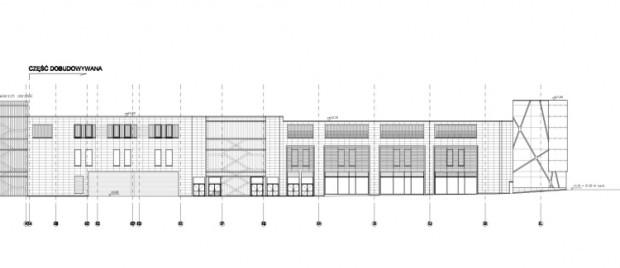 Projekt elewacji nowej części Galerii Bałtyckiej od al. Grunwaldzkiej.