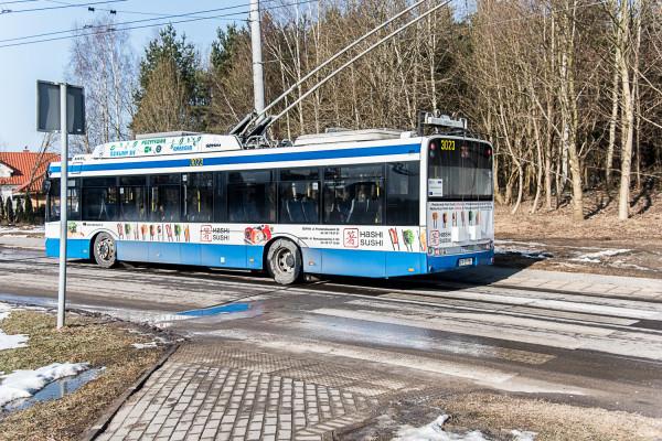 Zatrzymujące się na przystanku trolejbusy zajmują część przejścia dla pieszych, przez co stwarzają zagrożenie zarówno dla nich, jak i dla kierowców.