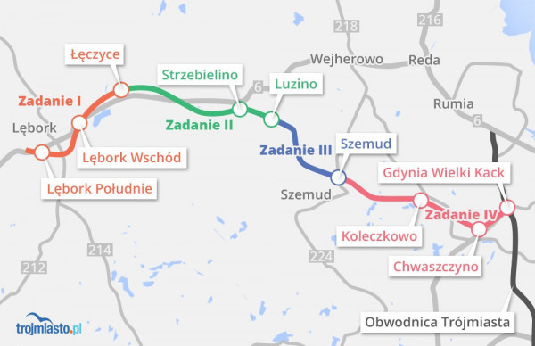 Plany budowy Trasy Kaszubskiej zakładają realizację inwestycji w ramach czterech różnych zadań.