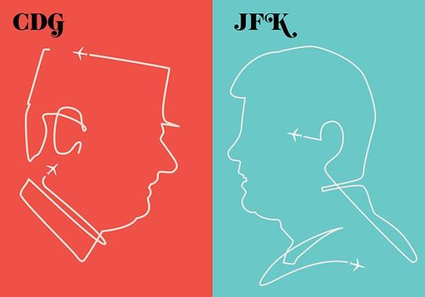 Porty lotnicze im. Charlesa de Gaulla oraz Johna F. Kennedy'ego to prawdopodobnie jedyne lotniska, których patroni są powszechnie znani. Grafika stworzona przez Vahrama Muratyana w ramach cyklu porównującego symbole Paryża i Nowego Jorku.