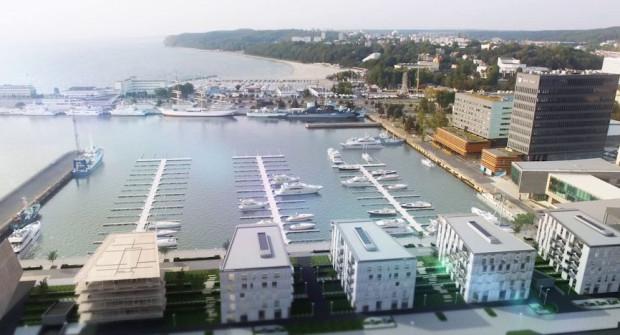 Wizualizacja nowej mariny na 120 jachtów, która ma powstać przy molo rybackim w Gdyni.
