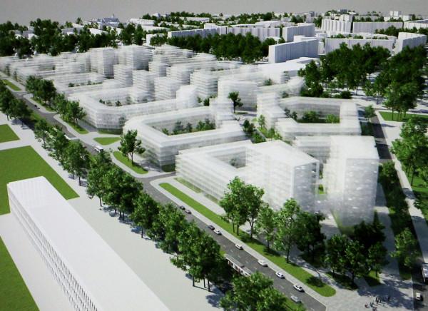 Wizualizacja możliwego układu urbanistycznego nowej zabudowy na terenie zajezdni autobusowej przy al. Hallera. Plan, w oparciu o który będzie mogła powstać tu zabudowa mieszkaniowa, został wyłożony do publicznego wglądu po raz drugi.