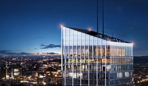 Widok na ostatnie piętra biurowca Olivia Star. Najwyższe kondygnacje będą ogólnodostępne.