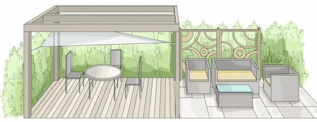 Koncepcja druga. Strefa wypoczynkowa została podzielona na dwie części - w jednej umieszczony został stół z krzesłami - tu można spożywać posiłki, w drugiej natomiast przewidziano sofę i fotele ogrodowe oraz niewielki stolik kawowy.