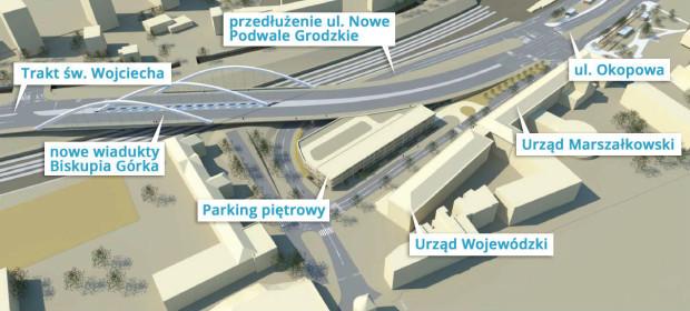 Plan rozbudowy wiaduktu Biskupia Górka obejmuje także powstanie piętrowego parkingu.