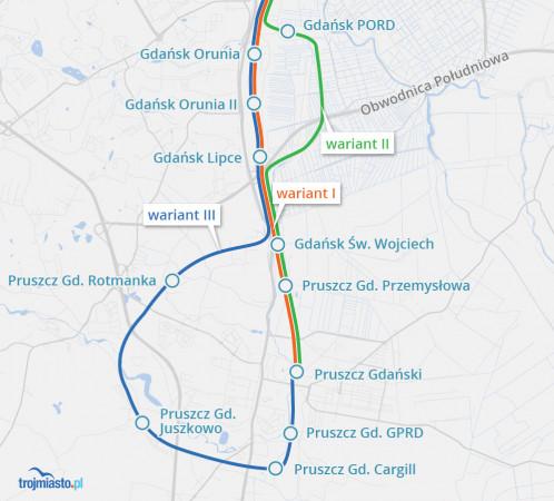 Propozycje przedłużenia trasy SKM do Pruszcza Gdańskiego z roboczymi nazwami nowych przystanków.