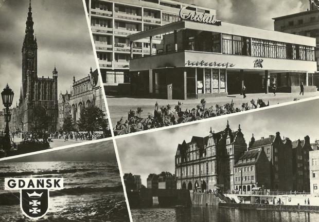 Atrakcje Gdańska na pocztówce z 1963 r. Co ciekawe, wśród nich znalazł się i Cristal (ze zbiorów autora).