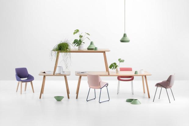 Krzesło Monk jest dostępne w różnych wariantach kolorystycznych i wykończeniowych.