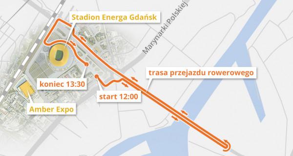 Trasa sobotniego przejazdu rowerowego w tunelu pod Martwą Wisłą.