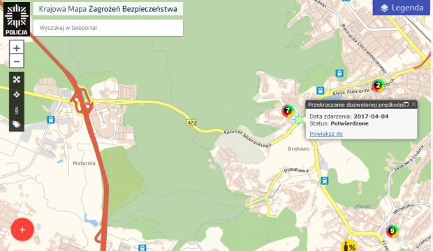 Przykład zgłoszenia przekroczenia dozwolonej prędkości na Słowackiego na Krajowej Mapie Zagrożeń Bezpieczeństwa.