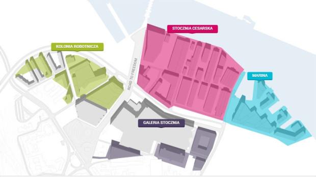 Koncepcja podziału terenu Młodego Miasta należącego teraz do firm belgijskich. Wiadomo jednak, że w miejscu gdzie powstać miało duże centrum handlowe powstaną raczej kwartały zabudowy mieszkalnej.