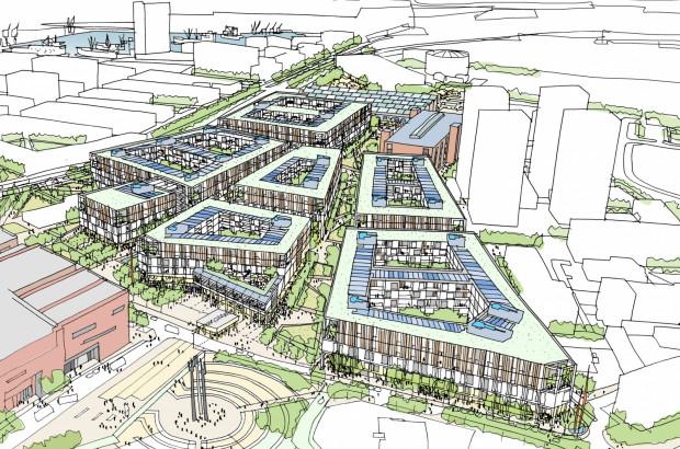 Projekt zabudowy części Młodego Miasta, powstały na zamówienie firmy deweloperskiej Atrium w londyńskiej pracowni DunnettCraven.